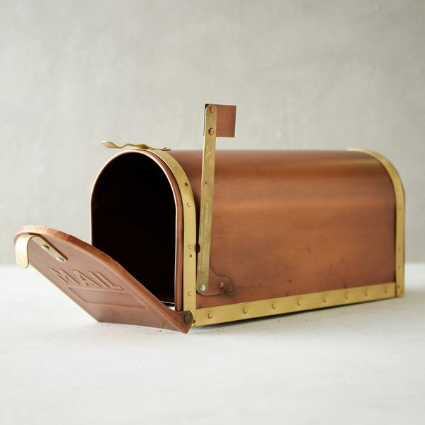Copper & Brass Mailbox ($98) ❤ liked on Polyvore featuring home, outdoors, outdoor decor, brass, copper garden decor, copper mail box, outdoor garden decor, outdoor yard decor y copper mailbox