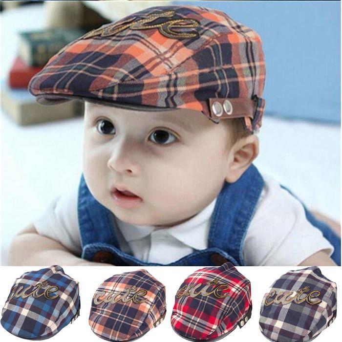 Cute Baby Kids Casquette Infant Flat Peaked Sun Hat Toddler Plaid Beret Boy Cap
