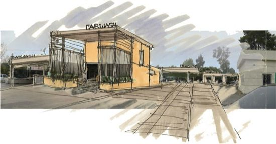 Modern Architecture Sketches carwash rendering modern architect concept sketch http://www