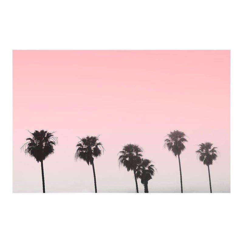 Unframed Pink Palms Pink Sky Photo Print