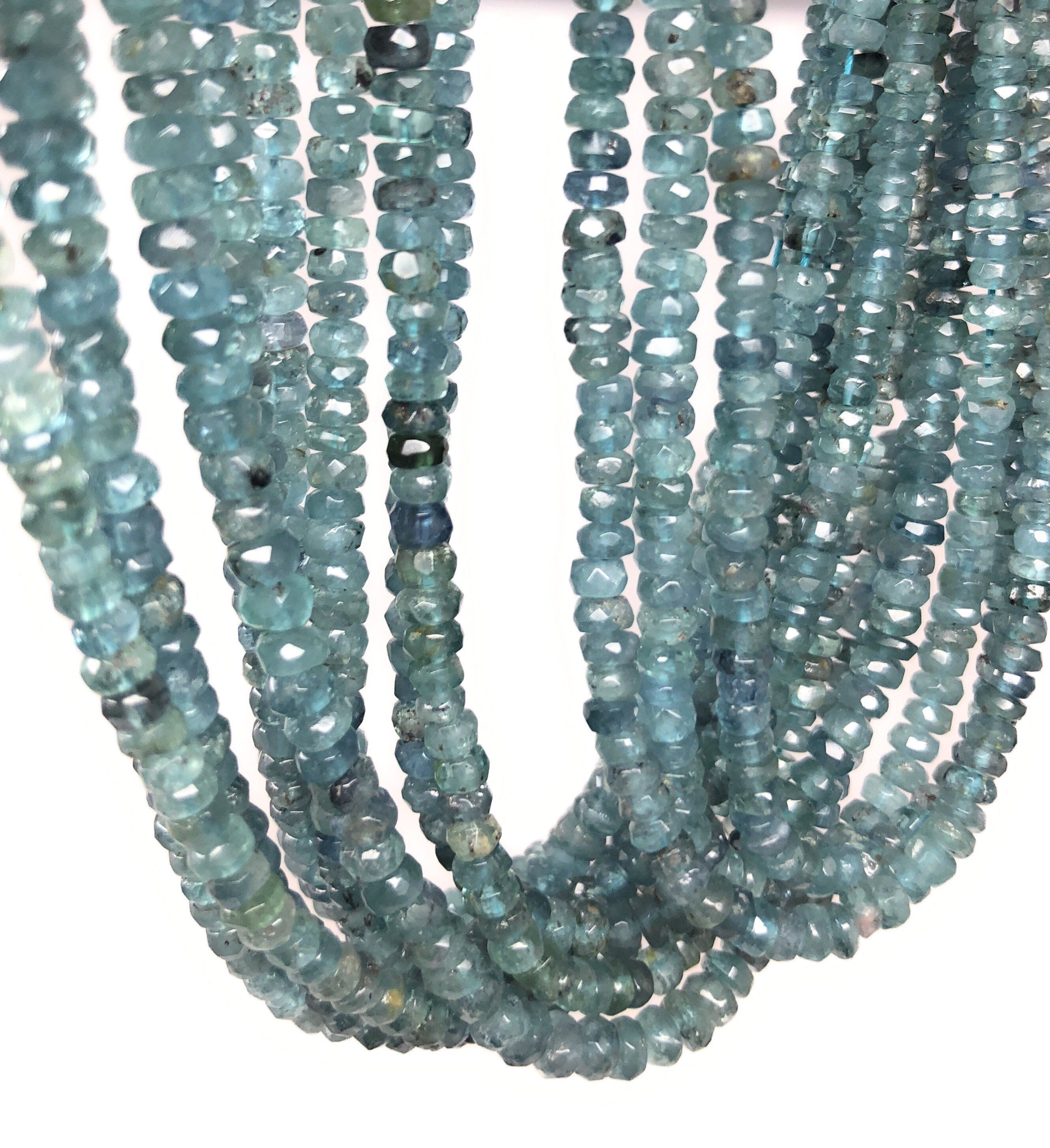5 Strand Natural Multi Aquamarine Micro Faceted Rondelle Beads 2.5mm 17 Strand