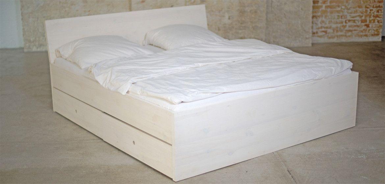 Bett Aus Massivholz Mit Lehne Und Bettkästen In Weiß