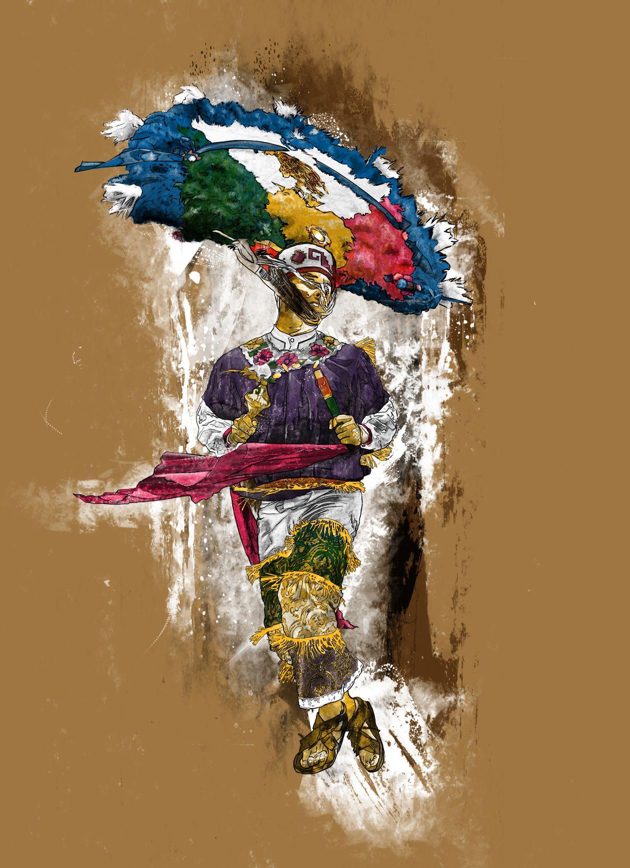 Danzante de la Pluma / Plume's Dancer from Oaxaca, Mexico.  Ilustración de una danza tradicional del Estado de...