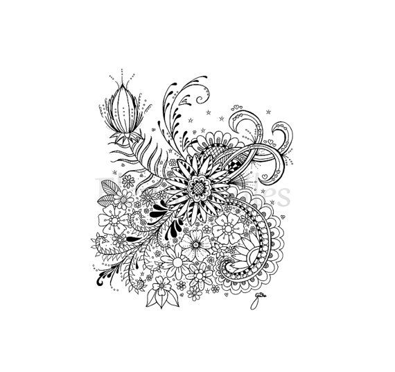 floral coloring page - Flower Fantasy - instant download unique hand ...