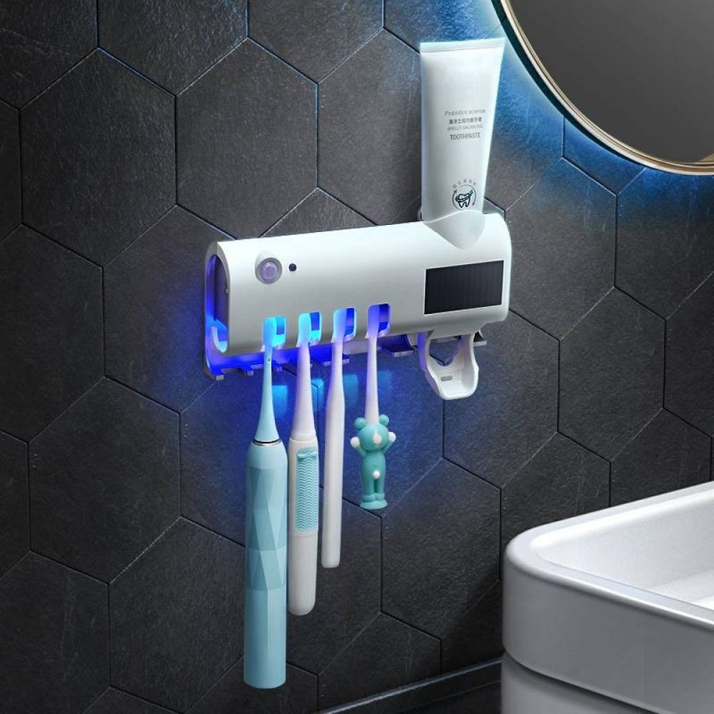Autom/ático UV Porta cepillo de dientes,Inteligente Energ/ía solar Antibacteriano Cepillo de dientes Esterilizador,Recargable sin taladrar pared Montado Pasta dental Dispensador para Familia Ba/ño