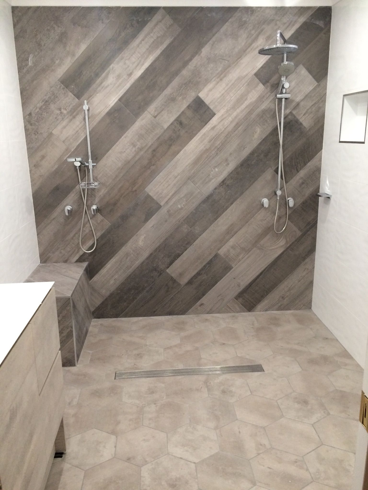 Feature wall timber look tiles walls white waves wall tile feature wall timber look tiles walls white waves wall tile floor concrete hexagon dailygadgetfo Images
