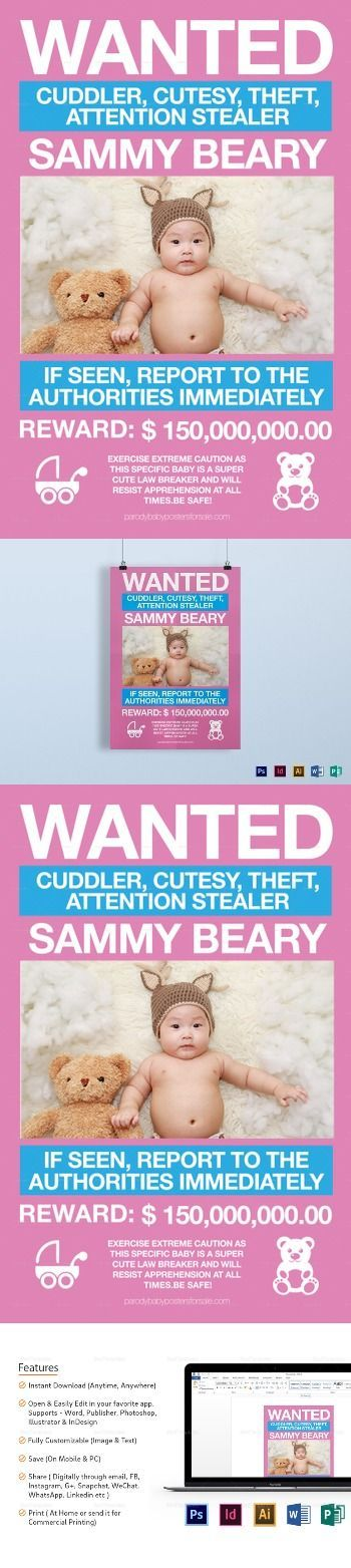 Funny Kids Wanted Poster Template 21 Formats Included Illustrator