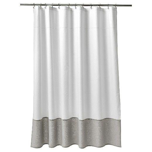 Oxford Stitch Shower Curtain White Gray Fieldcrest Gray