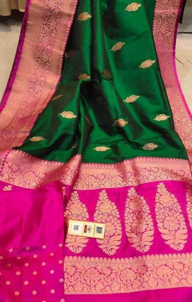 Photo of Pure Munga Silk Saree with Contrast Blouse