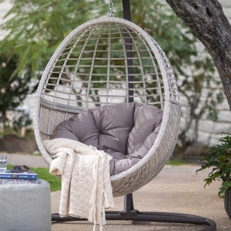 Island Bay Palma Resin Wicker Hanging Egg Chair With Cushion And Stand Hanging Egg Chair Hanging Chair Diy Hanging Chair