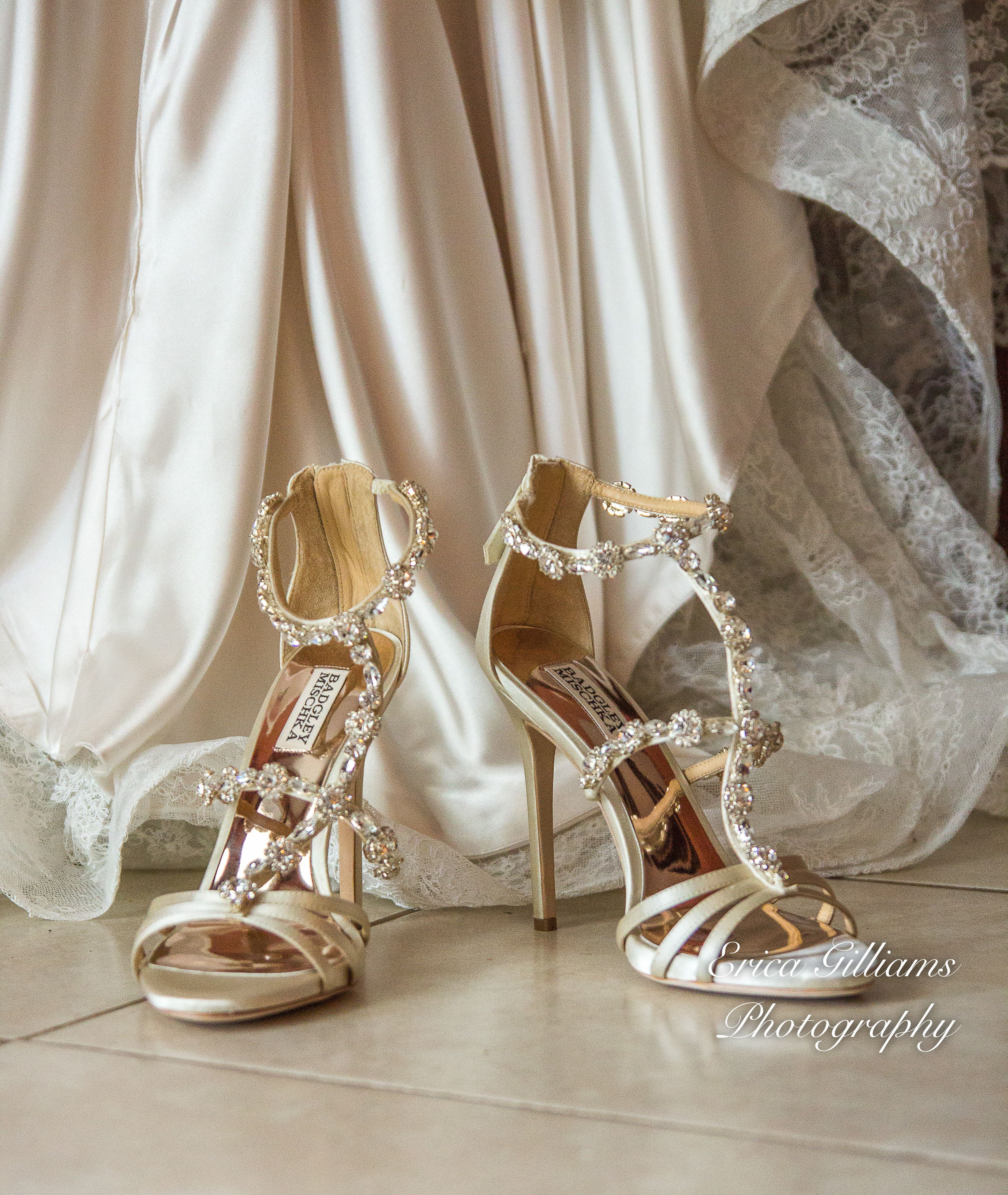 Wedding Dress and Shoes, Beautiful Cream and Gold Shoes. Crystal