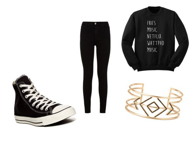 """Untitled #6"" by perezkaterine on Polyvore featuring 7 For All Mankind, Converse and Stella & Dot"