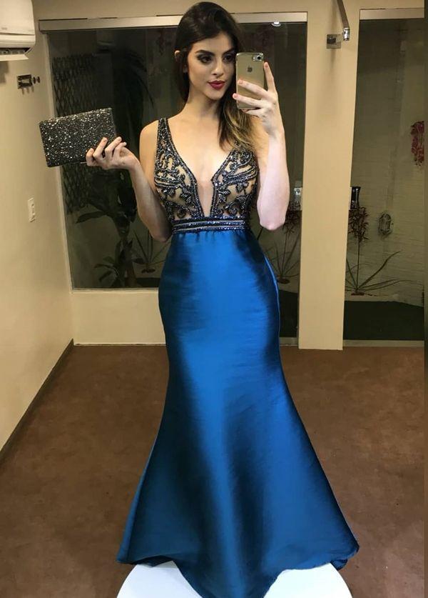 1ce22eb16e vestido longo azul sereia Vestidos Elegantes