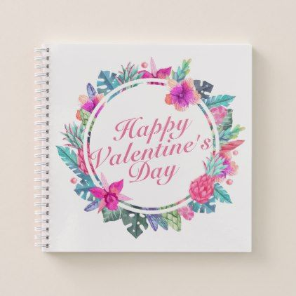 #Tropical Valentine's Day Floral Frame Notebook - #floral #gifts #flower #flowers