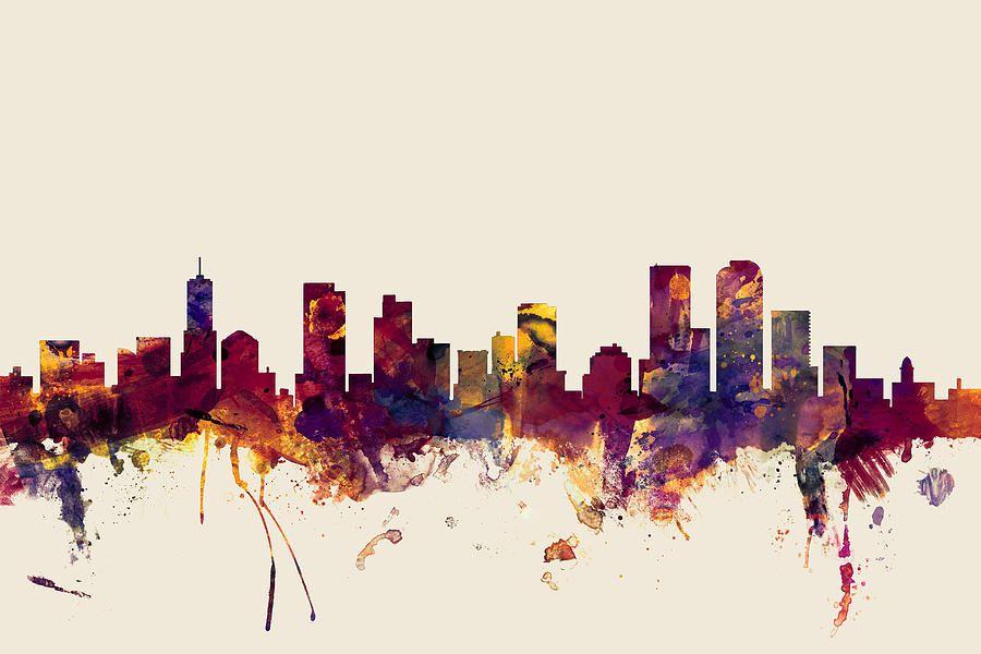 Denver colorado skyline digital art by michael tompsett