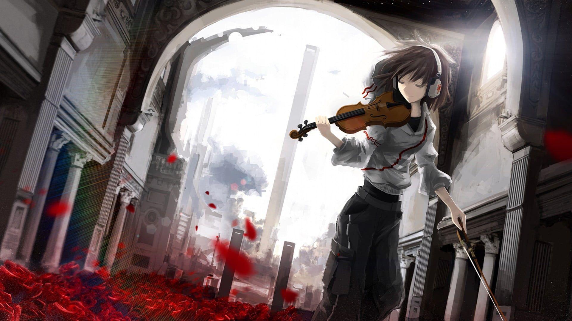 Girl Playing Violin Anime Illustration Animated Character Holding Violin Wallpaper Anime Violin Headphones Rose Leaves Building A Animasi Gambar Klasik