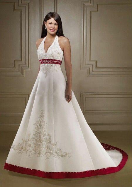Robe de Mariée bustier rouge et blanche (