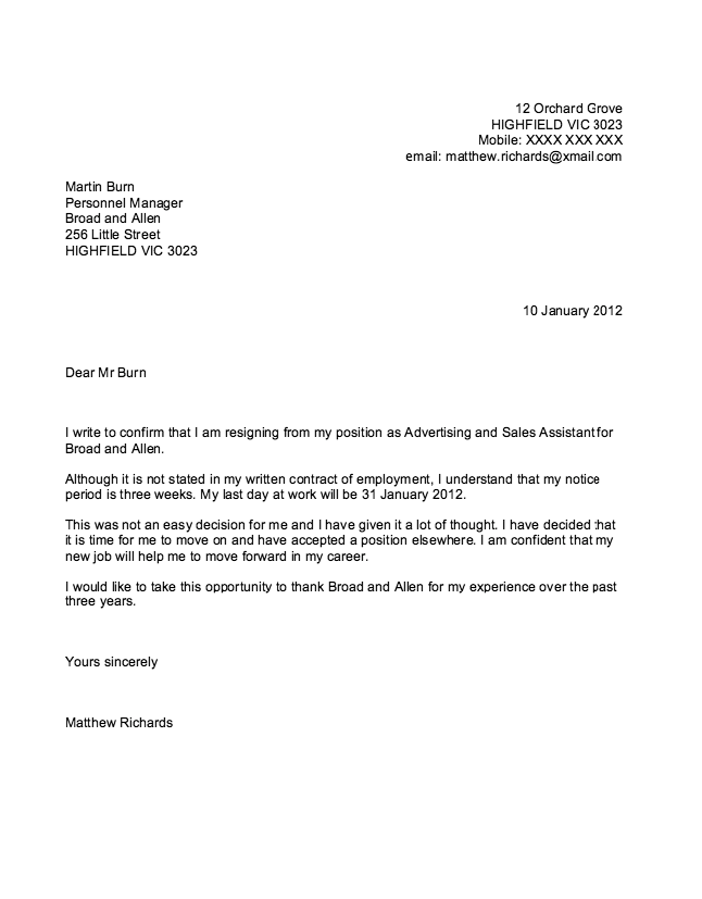 Sample Of Resignation Letter  HttpResumesdesignComSampleOf