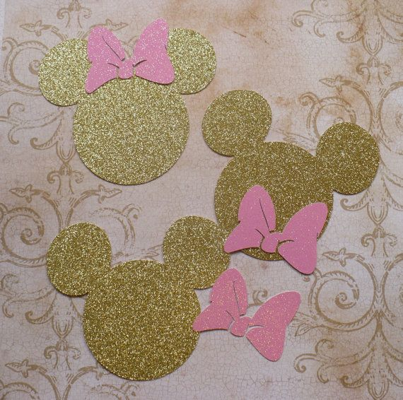 3 Minnie Mouse Head Shapes Gold Glitter by sandylynnbscrapping