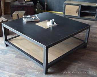 Table Basse Carree Acier Bois Style Industriel Welded Furniture Coffee Table Furniture