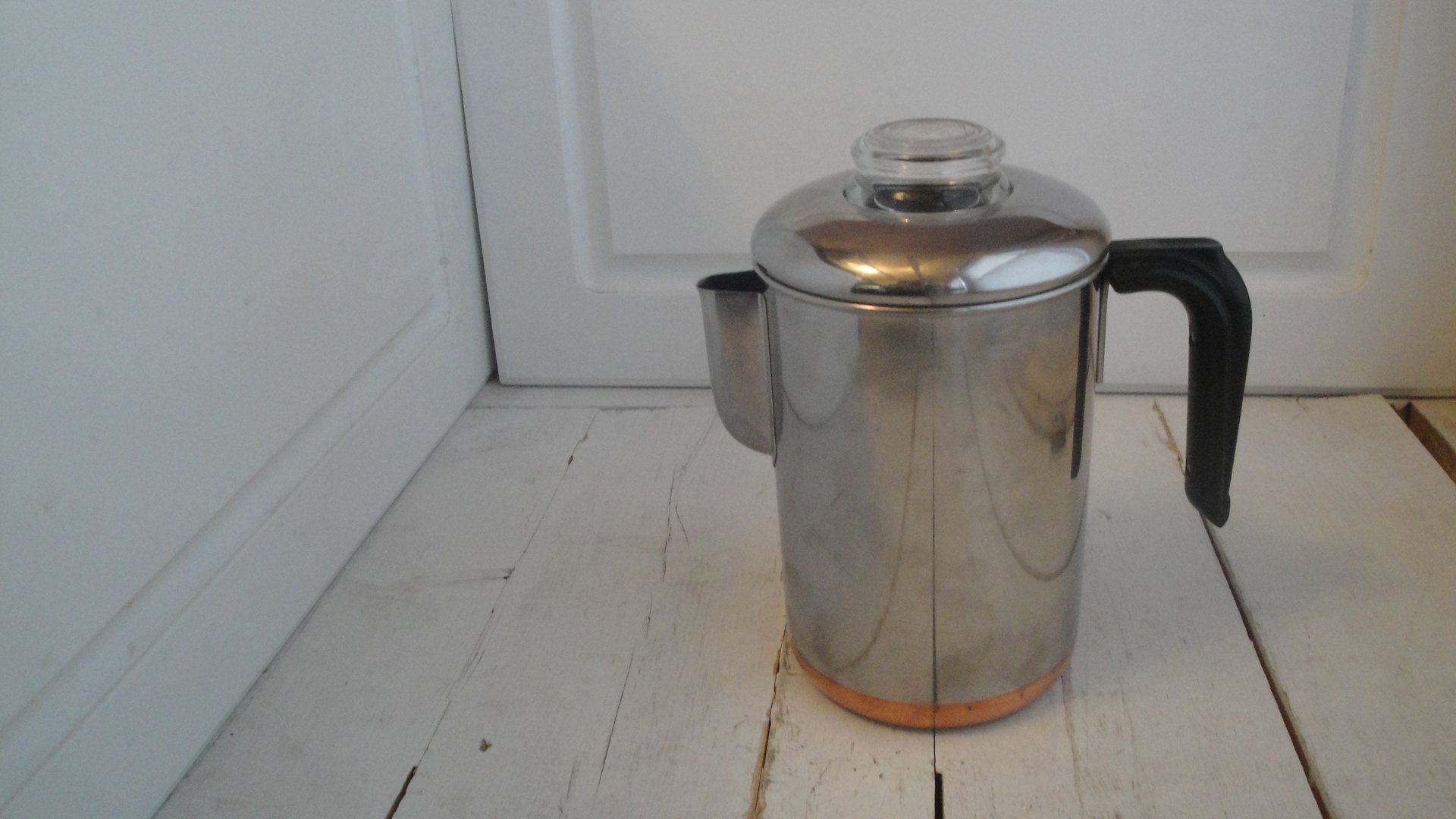vintage revere copper stainless steel percolator coffee pot stove