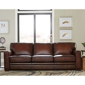 Luca 2 Piece Top Grain Leather Set Sofa Chair Top Grain