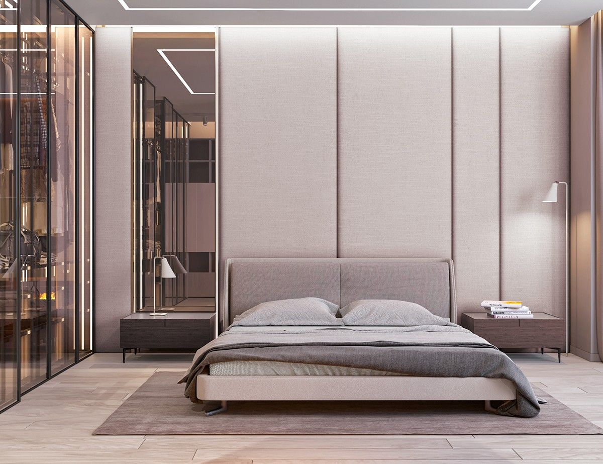 Asymmetric Headboard Wall #minimal #asymmetry Beds