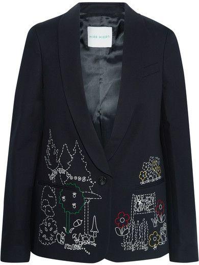 Mira Mikati - Dot To Dot Embroidered Cotton-blend Twill Blazer - Black