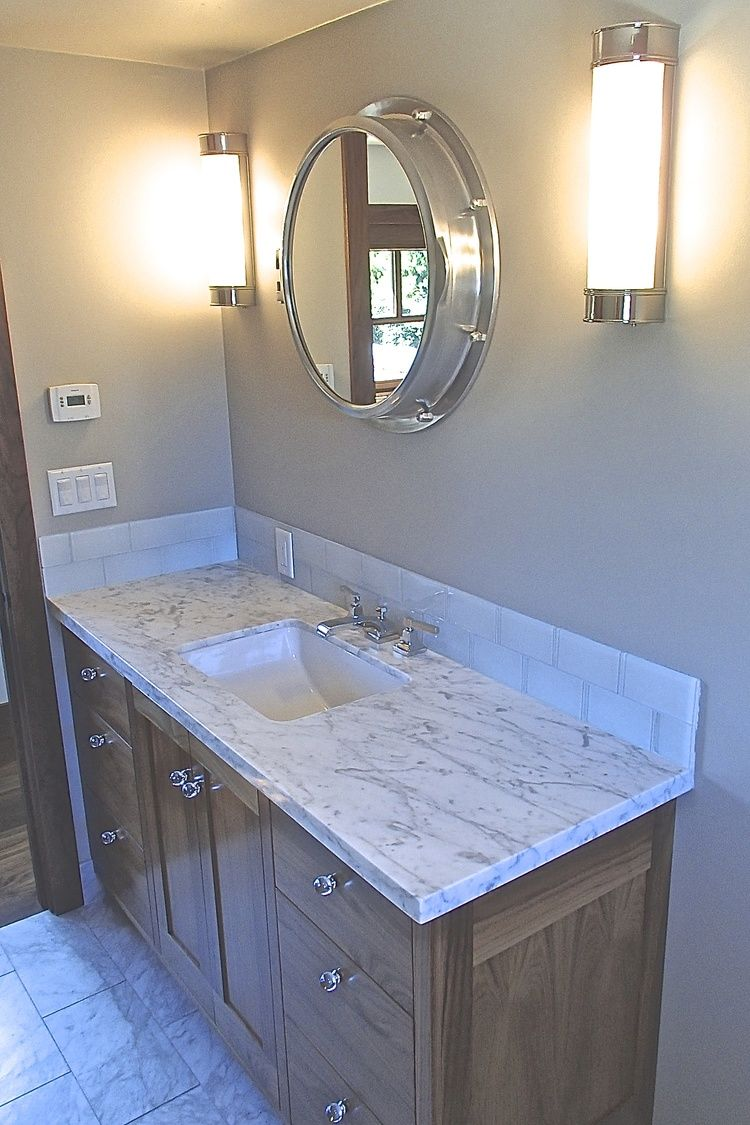Custom walnut Shaker style vanity designed by Av Elva Sol. Carrara ...