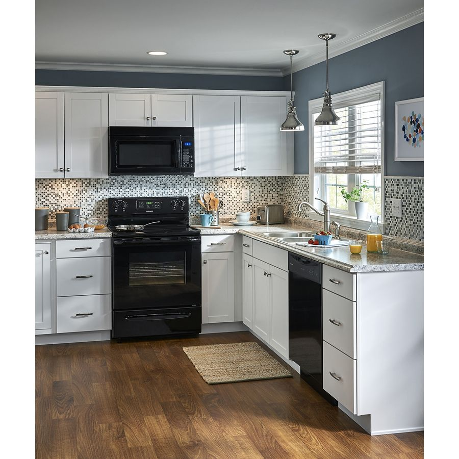 Shop Kitchen Classics Arcadia 18 In W X 84 In H X 23 75 In D White Door Pantry Black Appliances Kitchen Kitchen Cabinets Kitchen Cabinets With Black Appliances