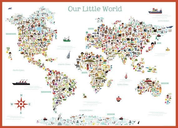 Cute illustrated art multi cultural world map wall by emajane illustrated art multi cultural world map wall adhesive decal sticker illustrated by kathleen renee with lil cloud designs gumiabroncs Choice Image