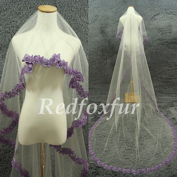 Cathedral Veil Purple Edge Veil Ivory Bridal Veil By Redfoxfur