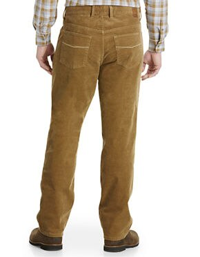 Oak Hill by DXL Big and Tall Pleated Straight-Fit Stretch Corduroy Pants