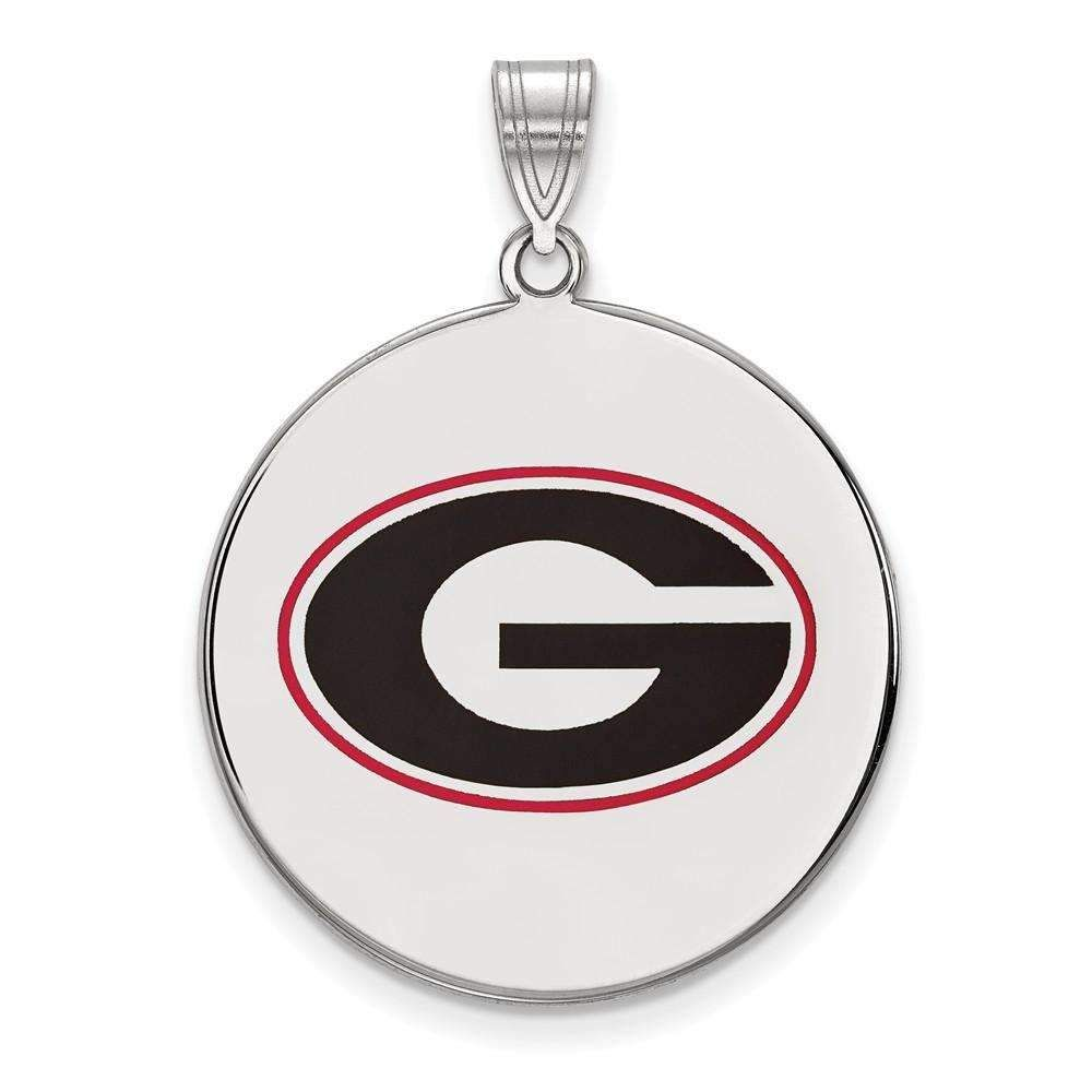 Sterling Silver LogoArt University of Georgia XL Enameled Pendant
