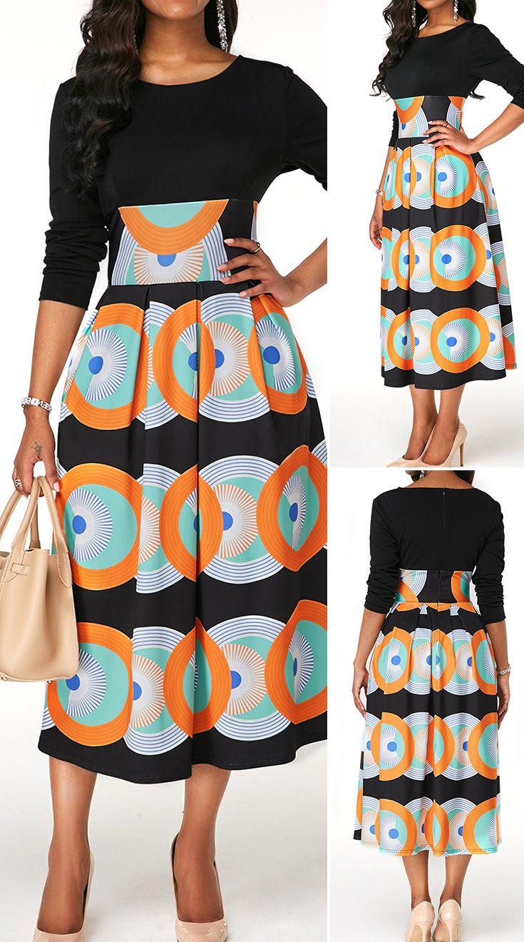 High Waist Long Sleeve Printed Dress