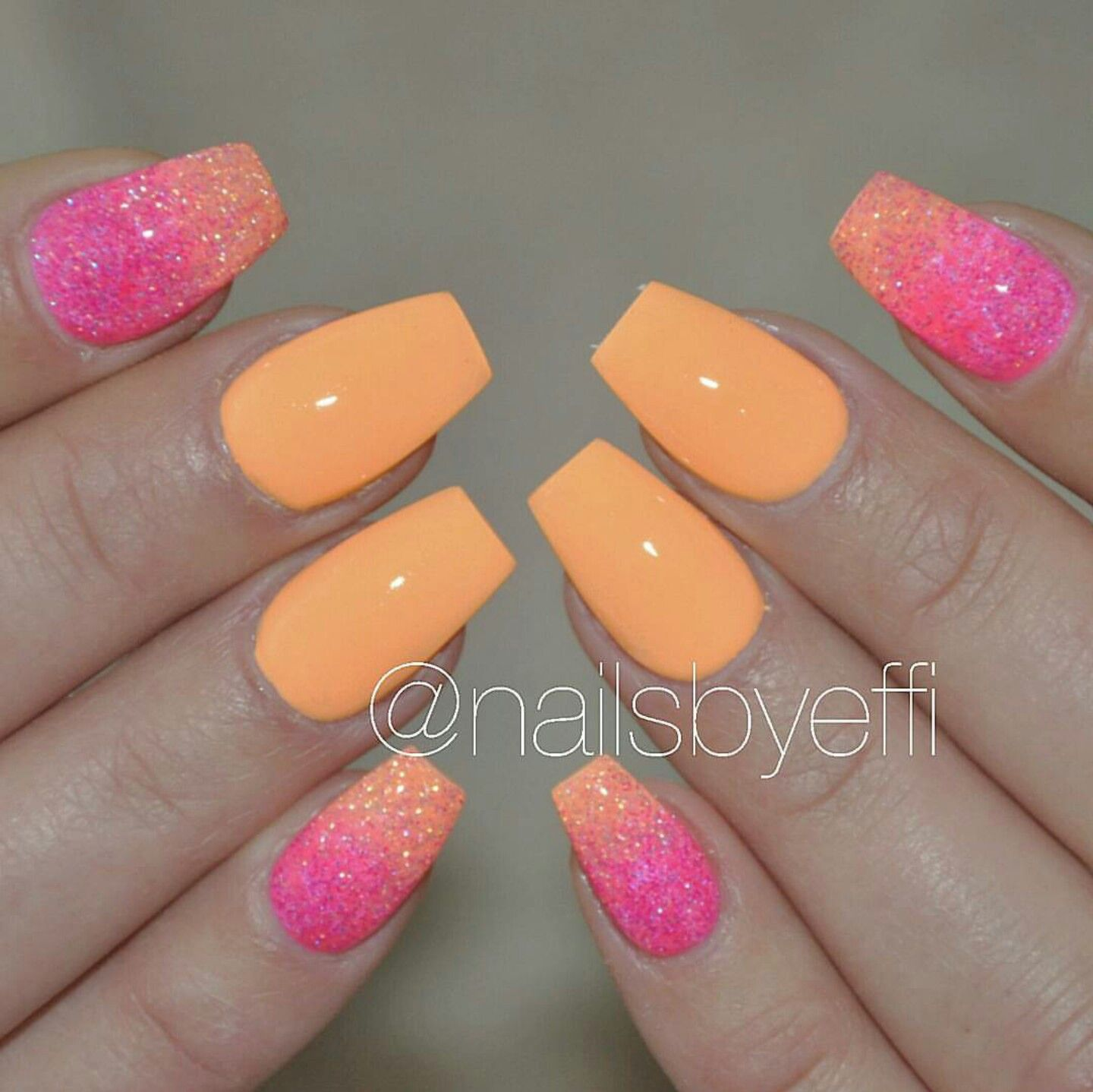 Orange And Pink Neon Glitter Coffin Shaped Nails Coffin Shape