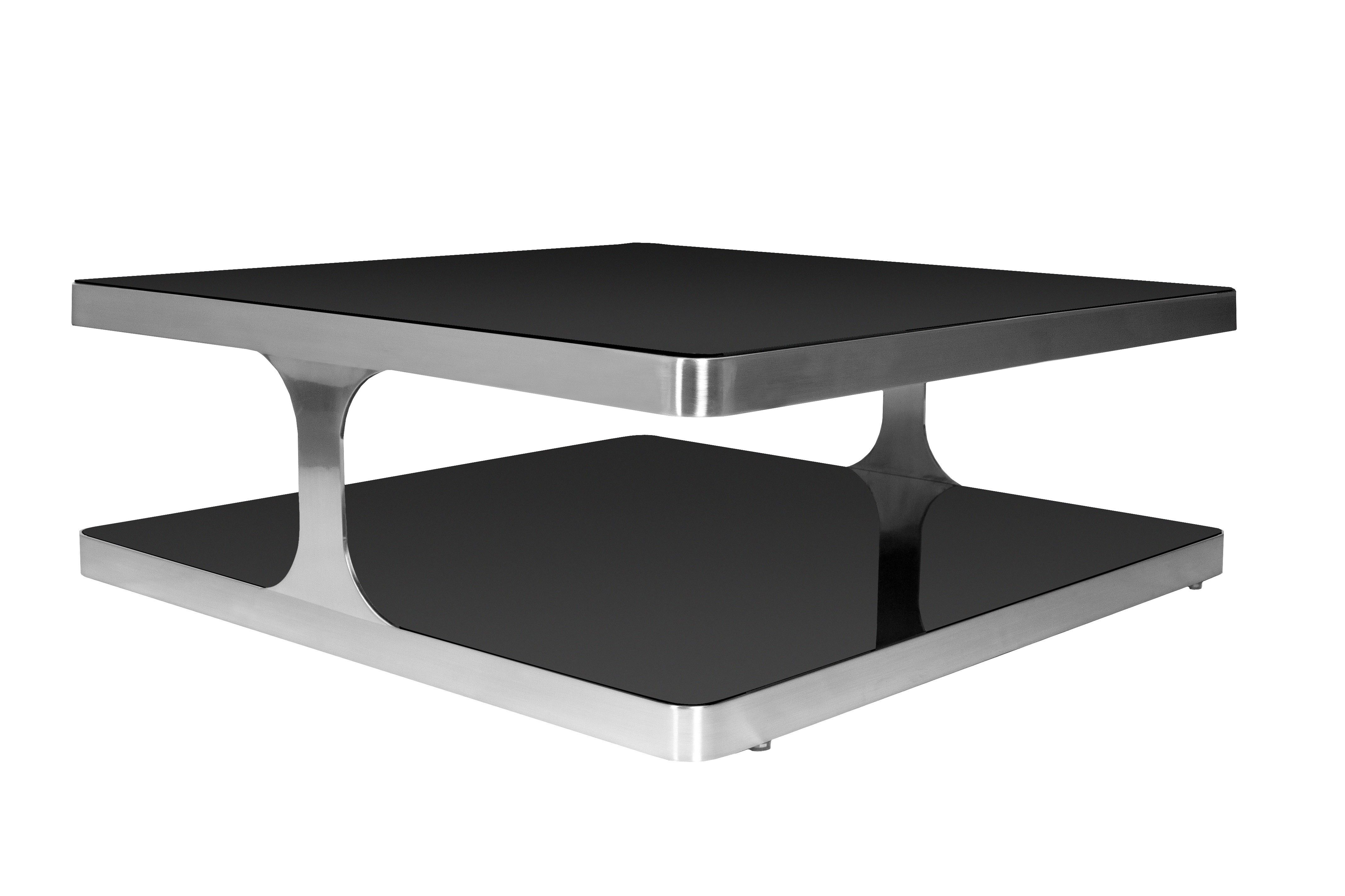 Diego square cocktail table with black glass top shelf