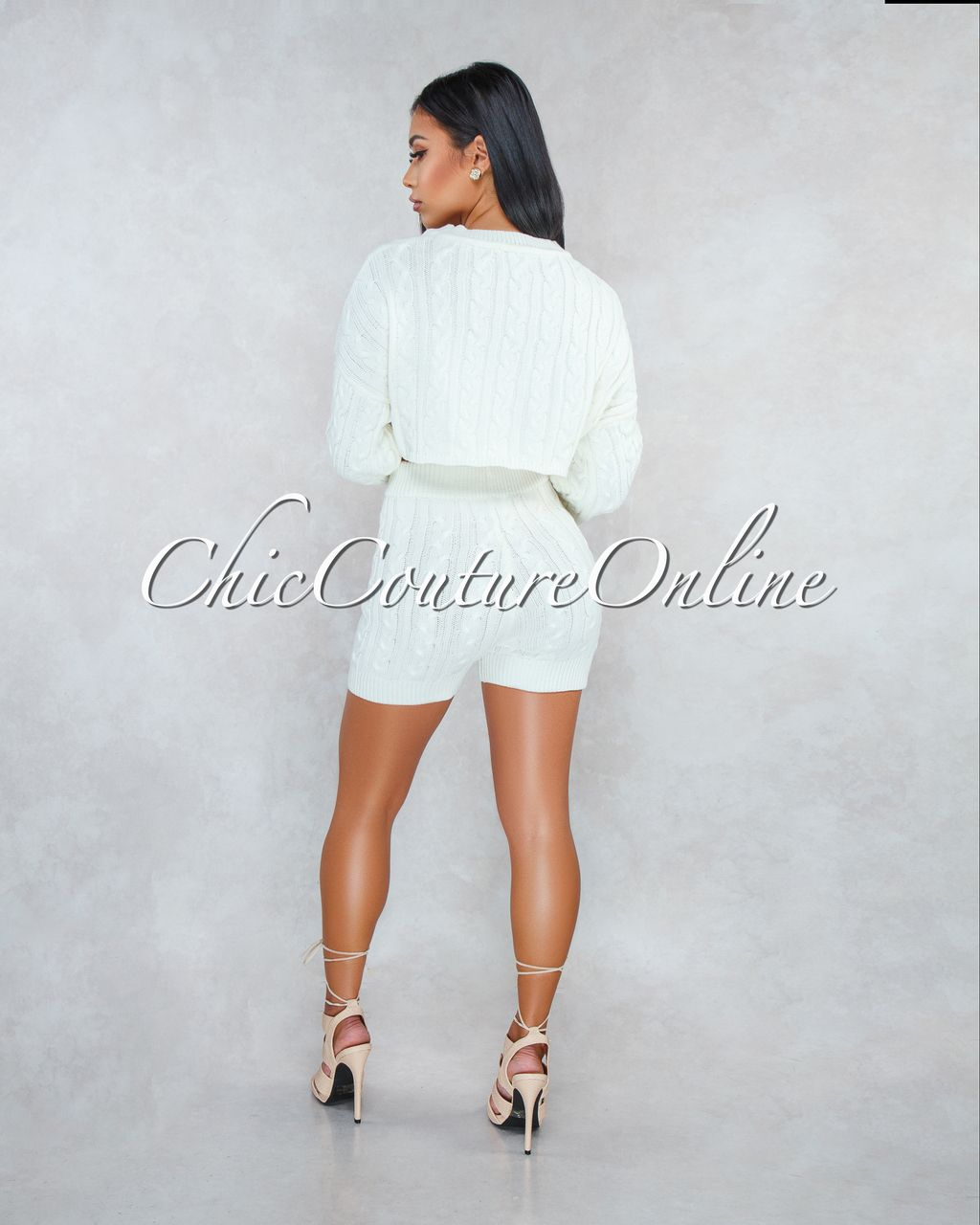 56ce868df Chic Couture Online - Samera Ivory Cable Knit Sweater Shorts Two Piece Set