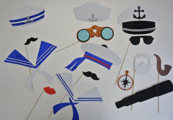Nautique Photo Booth Props Sailor Hats , mer océan les moustaches de robe  marin Photo Booth Props jumelles télescope sur un bâton Maritime