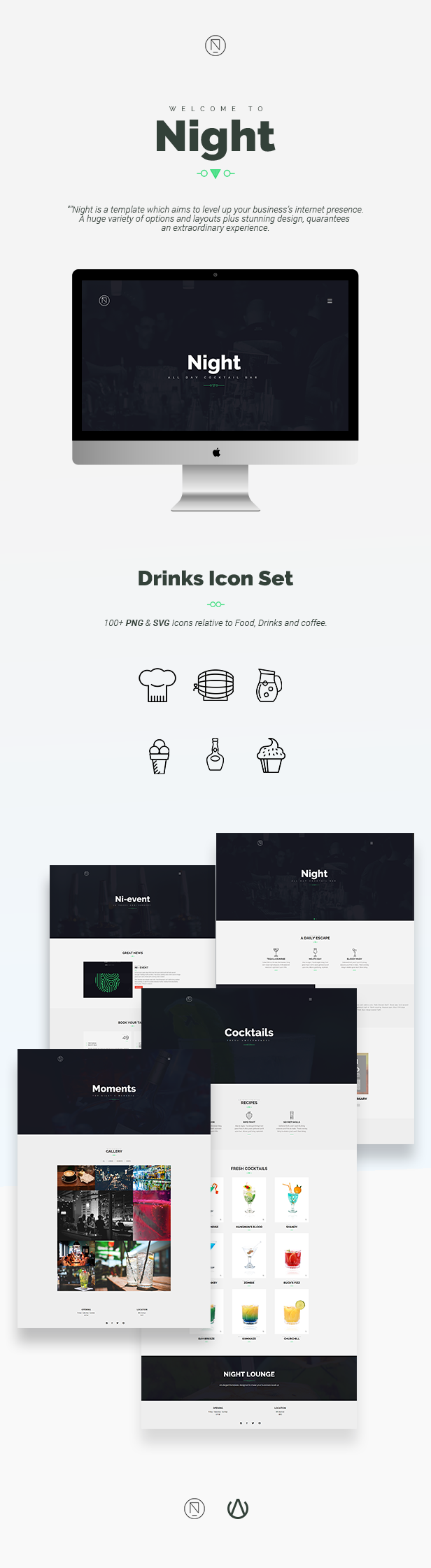 Night | Cocktail Bar / Cafe Bootstrap Template | Blogs | Pinterest ...