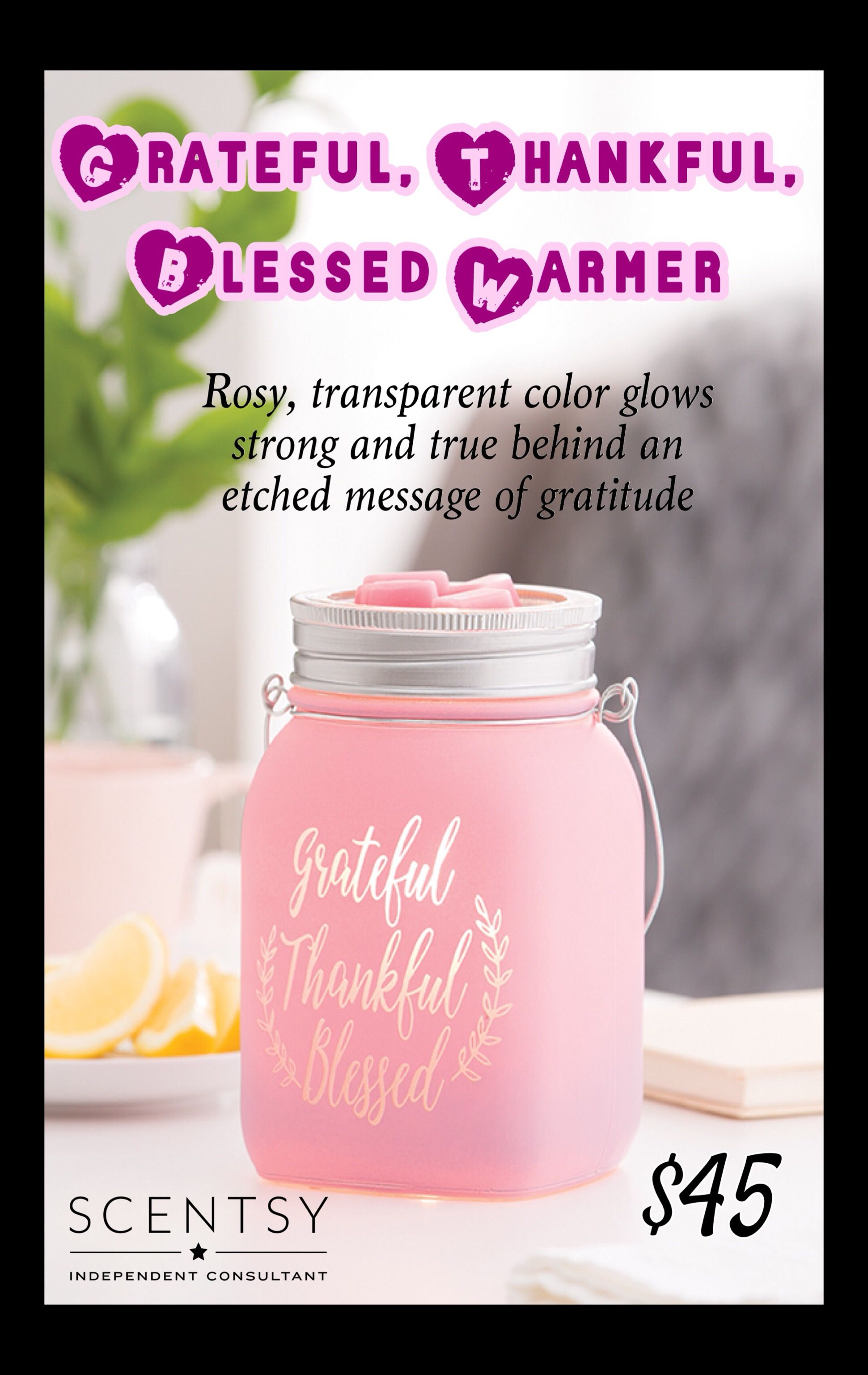 Grateful Thankful Blessed Warmer 2018 Fall Winter Scentsy
