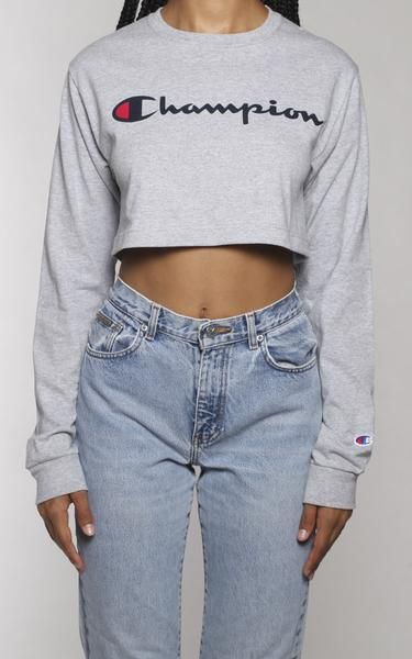bb05919ed Champion Crop Longsleeve Tee | ChAMPIOn | Long sleeve crop top, Long ...
