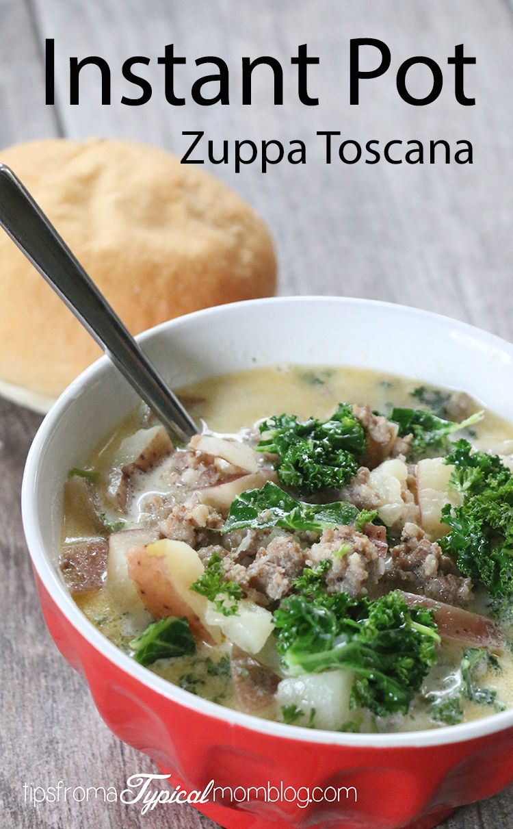 Instant Pot Italian Sausage Potato Soup {aka Zuppa Toscana} - Tips from a Typical Mom #sausagepotatoes