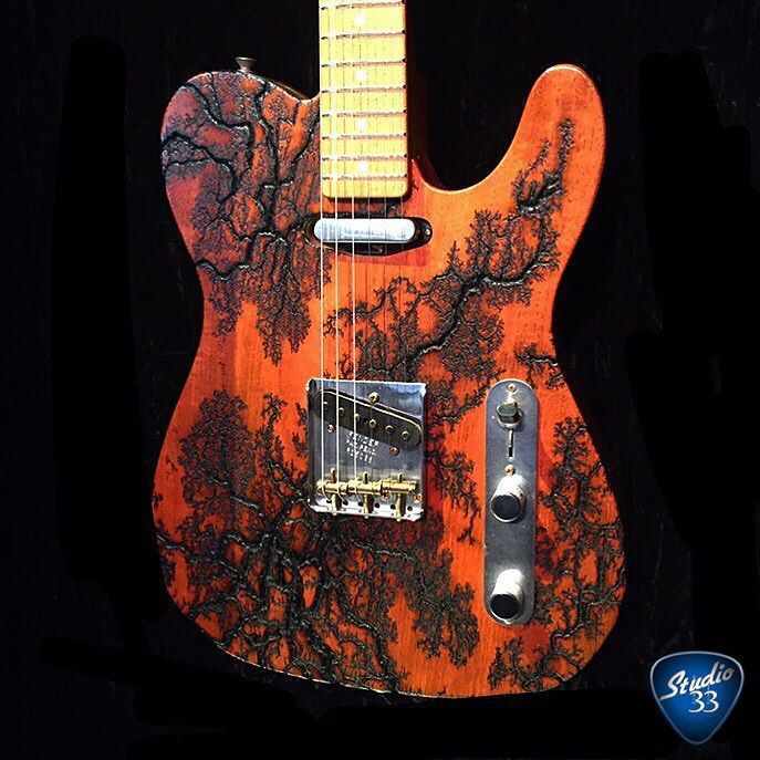 """From the Fender booth at #Namm2016: the """"15000 volt relic electrical burn Telecaster"""" What do you think? #Telecaster #Studio33Guitar"""