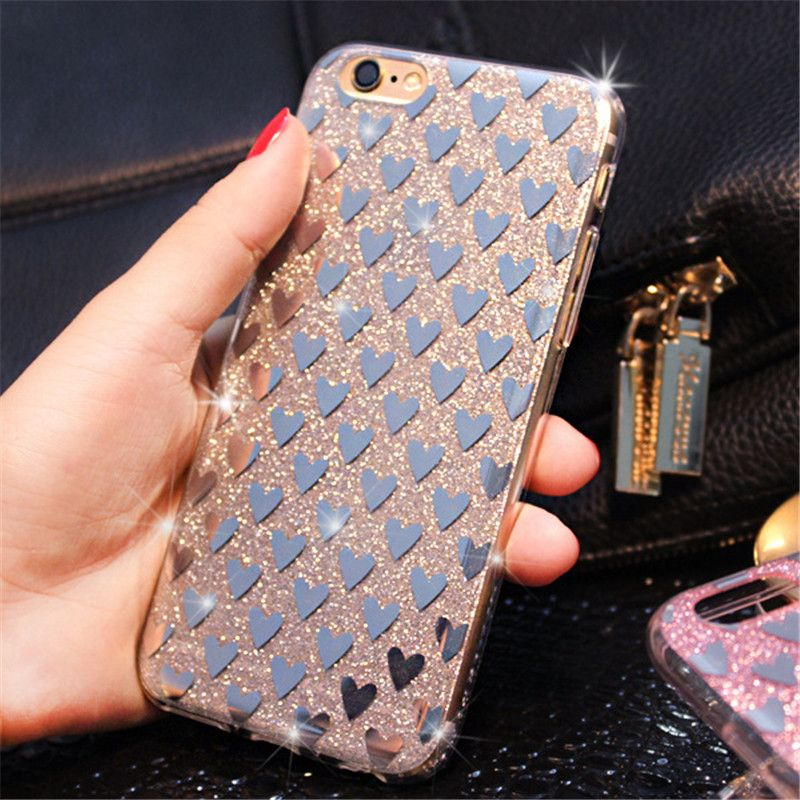 Mobile Phone Cases Fashional Glitter Electroplating TPU with Love Heart Pattern Covers for iPhone 7 7 Plus Phone Back Shell | iPhone Covers Online
