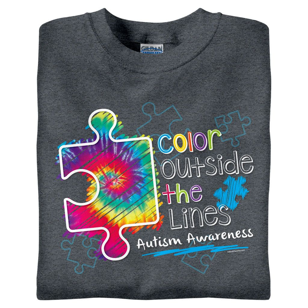 8499cff8ad5 Color Outside the Lines | Awareness | Autism shirts, Autism ...