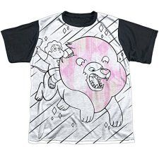 Steven-Universe-Stev-And-Lion-Big-Boys-Youth-Sublimated-Shirt-with-Black-Back
