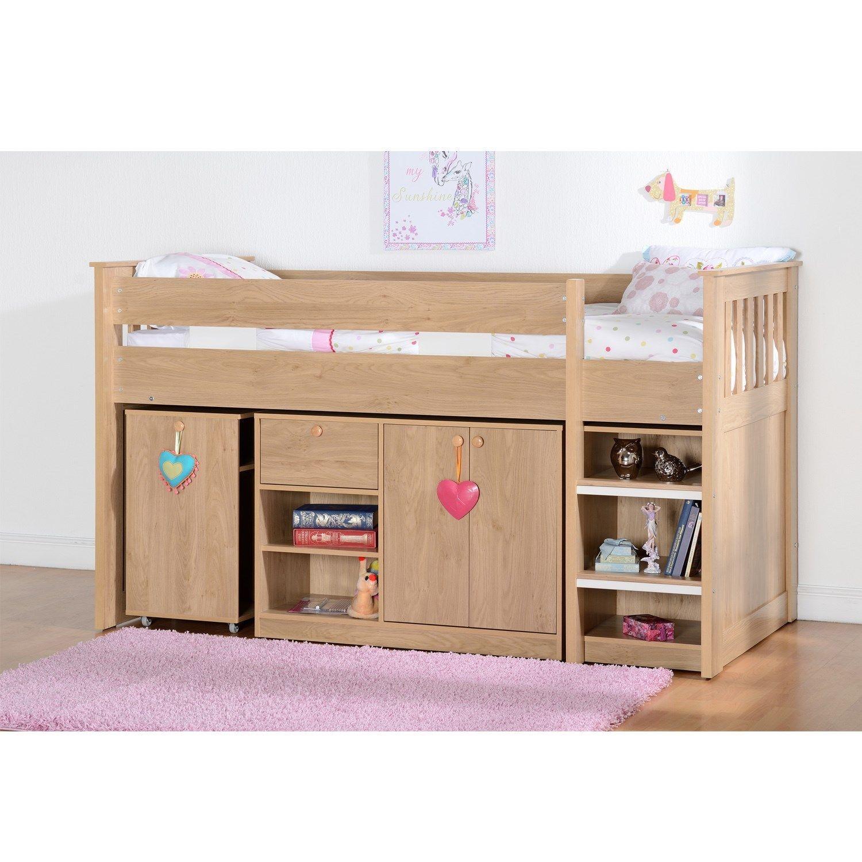 Seconique merlin oak effect sturdy mid sleeper kids bed storage
