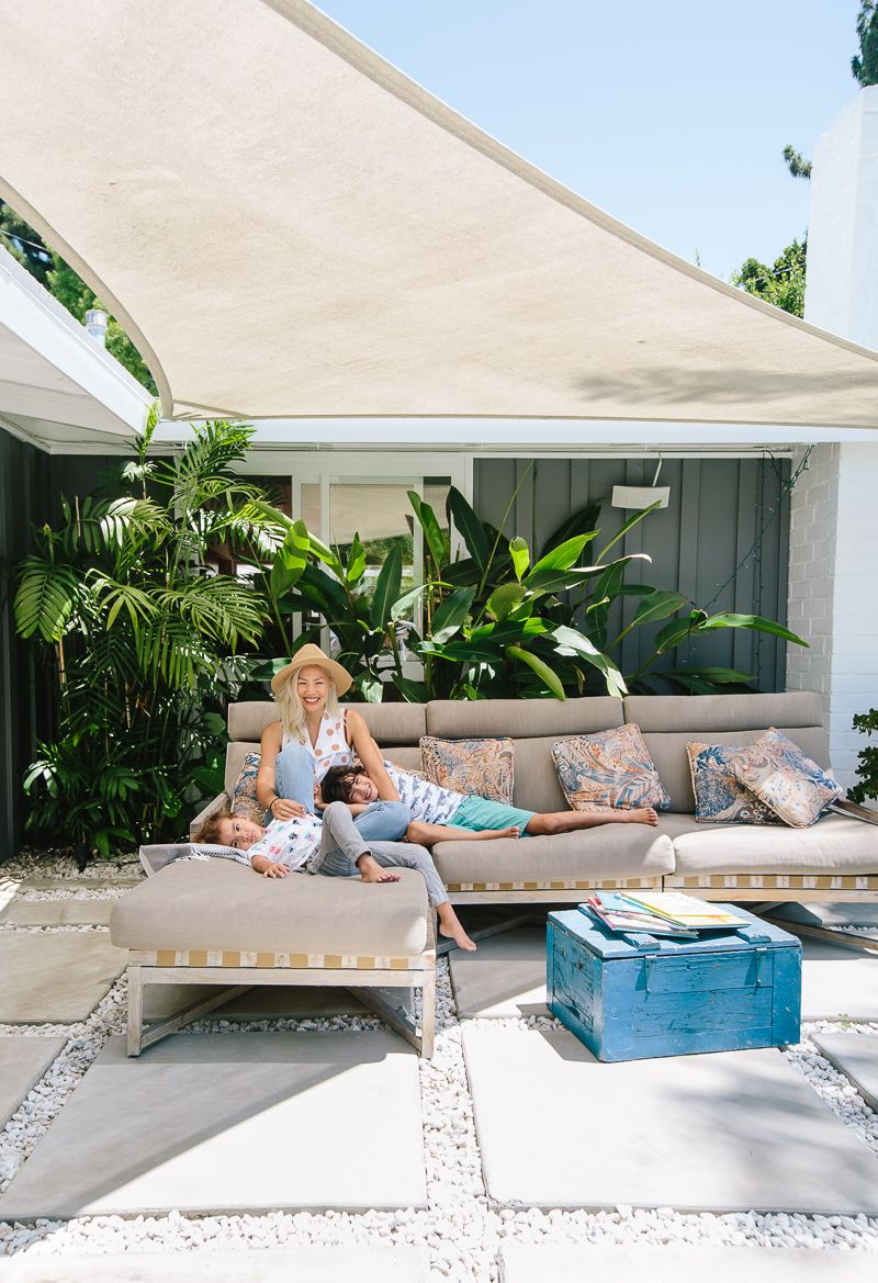 A Vintage Lover's Home in Long Beach, CA - Great Idea: Custom Sail Shade. Post: A Vintage Lover's Home In Long