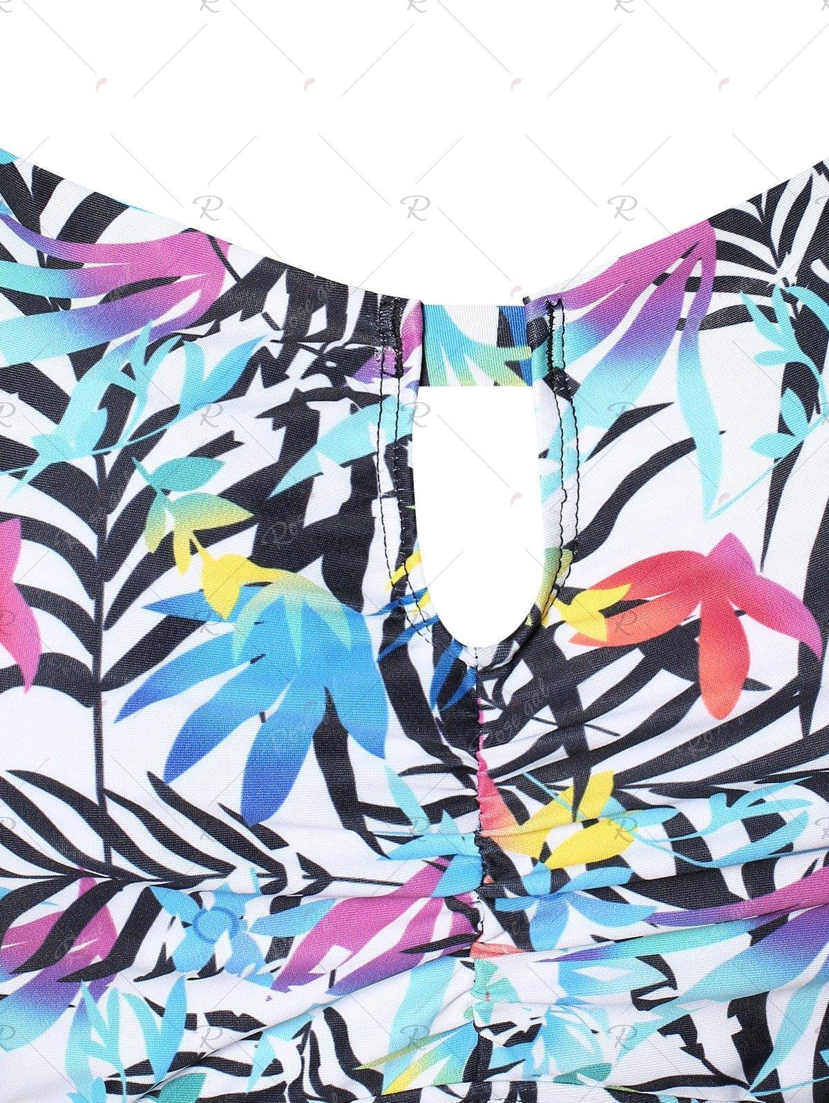 Plus Size Criss Cross Palm Print Skirted Tankini Set 2